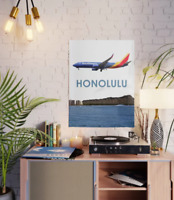 """Southwest Airlines Boeing 737 Over Honolulu Art - 18"""" x 24"""" Poster"""