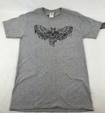 Custom Small Unisex Skull Face Cicada Print Shirt Gray