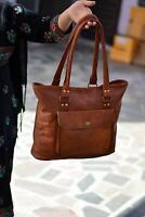 Vintage Leather Tote Bag Women Handbag Purse Travel Shopping Shoulder Bags 17 In