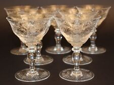 7 HAWKES GRAVIC CUT GLASS SHERBET/CHAMPAGNE GOBLETS/STEMS SIGNED! PATTERN?