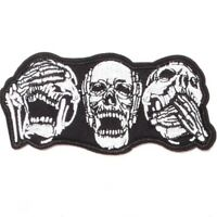 Clothing Diy Embroidery Iron On Patch Deal With It Heads Skull Badge Punk Black