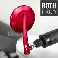 """KiWAV orient Red Adjustable 7/8"""" Bar End Rear View Side Mirrors Pair for Indian"""
