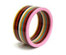 Wide Stripe Bangle Bracelet Stripey Statement Women's Jewellery Free Bag UK