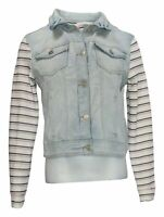 WallFlower Women's Sz M Denim Button Closure Striped Jacket Blue