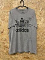 Adidas Short Sleeve Crew Neck Mens T-Shirt Grey Sprinters Logo Large