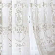 Embroidery Floral Tulle Net Curtains Sheer Curtain Window Treatment Screen White