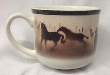 BIG SKY CARVERS WILD HORSES MUG 14 OZ BROWN HORSES & TRIM THOMAS NORBY