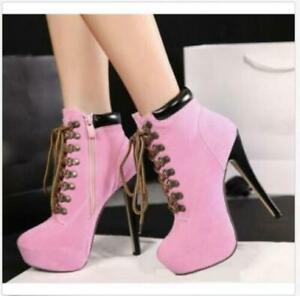 New Women High Heel Sexy Lace Up Zipper Platform Ankle Boots Shoes Stilettos