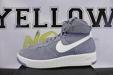 NIKE AIR FORCE 1 ULTRAFORCE HIGH SUEDE SZ 9.5 GLACIER GREY WHITE 880854 004