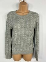 WOMENS H&M LIGHT GREY CABLE KNITTED SMART CASUAL JUMPER SWEATER PULL OVER XS
