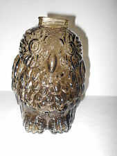 Vintage Smoke Glass Wise Old Owl Bank -  6 1/4 in. tall