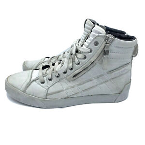 Diesel D-String Plus Casual Leather Hi Top Sneakers Men's Size 10 White