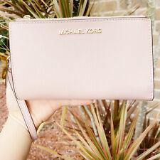 Michael Kors Jet Set Double Zip Wristlet Phone Wallet Blossom Pink Saffiano