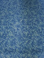 100 cotton quilting fabric by the yard, light blue bamboo print,  for sewing.