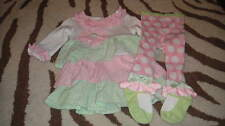 BOUTIQUE MUDPIE 12-18 PINK GREEN RHUMBA DRESS POLKA DOT TIGHTS