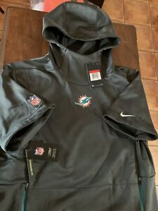 Nike NFL Miami Dolphins Therma Top Short Sleeve Hoodie 906847-060 Men's SZ L