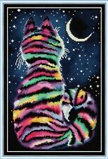 STRIPEY CAT COUNTED CROSS STITCH KIT 14 COUNT AIDA 29x40CM