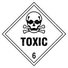 Toxic 6 Hazard Warning Labels Stickers COSHH PPE
