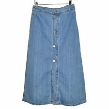 SET Jupe Longue Denim Maxi Skirt Jeans Boutons 38D Light Blue 40FR Washed Cotton
