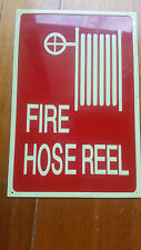 Glow in dark FIRE HOSE REEL sign 225mmx150mm RED day color, green glow Aluminium