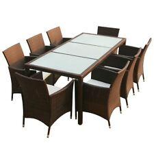 9-Piece Outdoor Patio Rattan Furniture Garden Dining Set w/ Cushions Brown