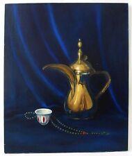 Vintage Turkish Dallah Tea Coffee Pot Cup Still Life Painting Islamic Arabic Art