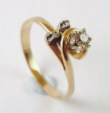 100% Genuine Vintage Solid 18k Yellow Gold 0.10 cts Natural Diamond Ring Sz 8 US