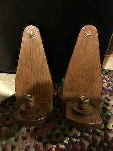 2 Wooden Candle Holders Wall Sconces With brass star