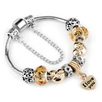 Women's Silver Plated Crystal European Charm I Love You Cuff Bangle Bracelet
