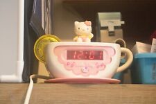 Hello Kitty Tea Cup Digital Alarm Clock Am/Fm Radio Night Light Pink teacup Euc