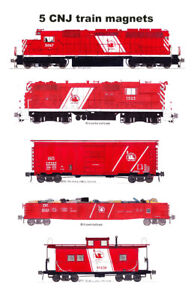 Central Railroad of New Jersey Red Train 5 magnets Andy Fletcher