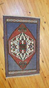 Stunning Antique 1940-1950's Wool Pile Natural Dye Tribal Rug 1'9'' x 2'10''