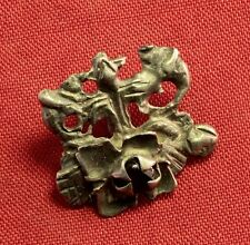Nice Medieval Silver Mantle Buckle, 14. Century, With Stone