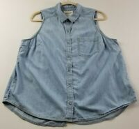 Arizona Jeans Women's Sleeveless Snap Button Up Shirt XL Chambray Blue Pocket