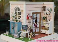 DIY Wooden Dollhouse Miniature Kit w/ LED light& music&voice control happy time