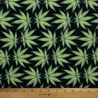 "Black Marijuana Toss Peach Skin Fabric By The Yard 58"" Wide Perfect for Apparel"