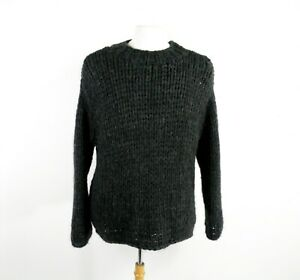 Charcoal Grey Hand Knit Chunky Knit Wool Jumper by J Crew Size M / L
