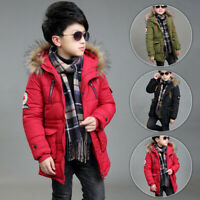 Kids Boys Puffer Coat Jacket Hoodie Hooded Parka Warm Winter Fur Collar