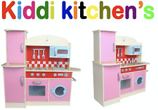 Kids Wooden Play Kitchen Children's Role Play Pretend Set Toy Pink Large Kitchen