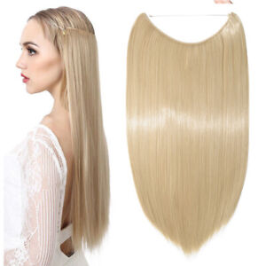 """UK Secret Full Head 20"""" Invisible Wire Hair Extensions dark blonde Mix Blonde MS"""