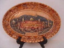 VINTAGE HAND PAINTED JUDICA PLAQUE OF JERUSALEM WITH STAND MADE IN ISRAEL