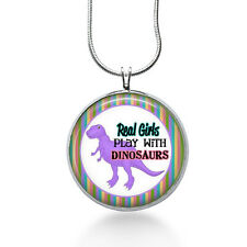 Real Girls Play with Dinosaurs Necklace, Dino Pendant, animals ,gifts for women