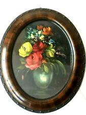 Dipinto quadro antico natura morta fiori con cornice ovale d'epoca