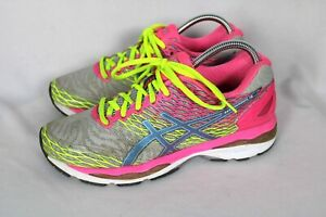 Asics Womens Gel Nimbus 18 Gray Pink Running Sneakers Sz 9