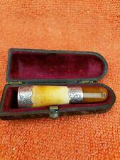 More details for antique sterling silver hallmarked meerschaum & amber cheroot holder 1891 louis