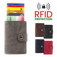 Porta Carte di Credito RFID in Pelle Alluminio da Uomo Portafoglio Rigido Slim +