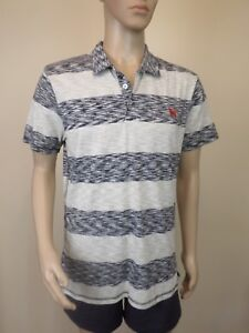 Mens Mambo Red Dog Grey White Striped Polo Shirt Top - Cotton - Size L