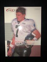 2002 SAGE FOOTBALL PATRICK RAMSEY #33 TULANE WASHINGTON REDSKINS NFL NCAA CARD