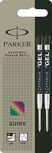 Parker Gel Medium point BLACK ink refill for Parker ballpoint pens PACK OF 2