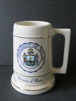 Vintage University of Maine Crest Ceramic Beer Stein Mug Made in USA (w2)